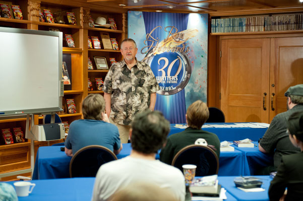 Judge Orson Scott Card speaking at the Writers Workshop.