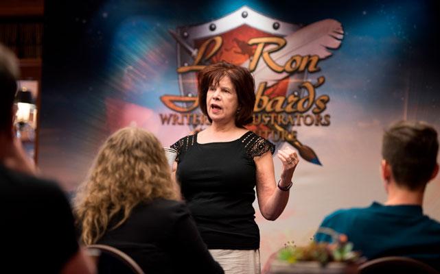 Judge Nancy Kress speaking at the Writers Workshop.