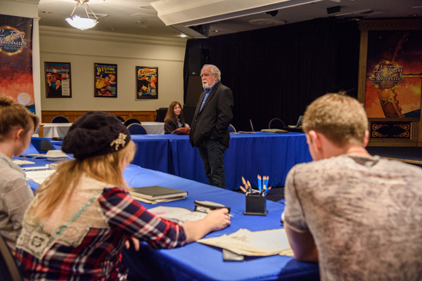Larry Elmore speaking to illustrator winners.