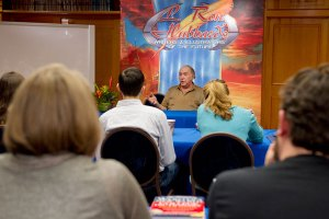 Author, editor and writer judge Mike Resnick at the Writers Workshop.