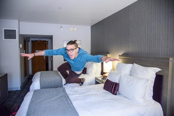 Low flying Illustrator of the Future winner, Killian McKeown, arriving in his room at the Loews.