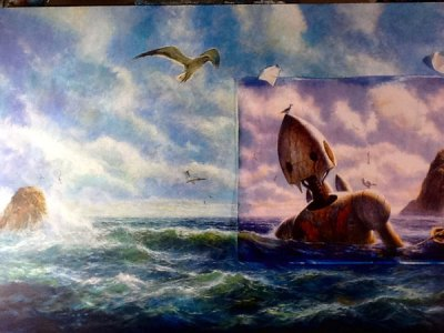 The two paintings are merged