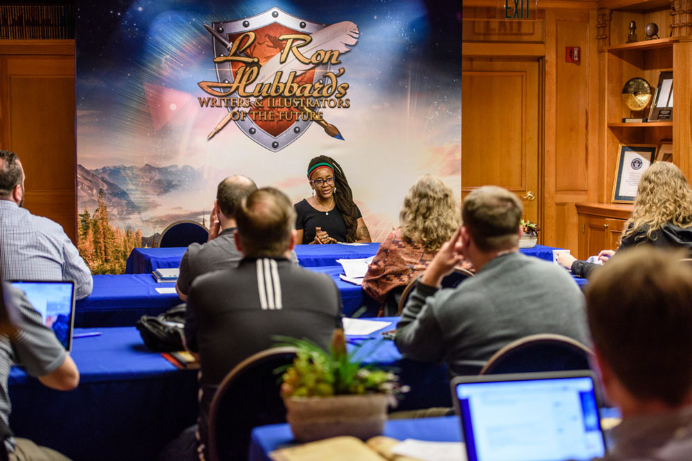 Nnedi Okorafor at the L. Ron Hubbard Writers of the Future Contest providing tips on how to start writing.