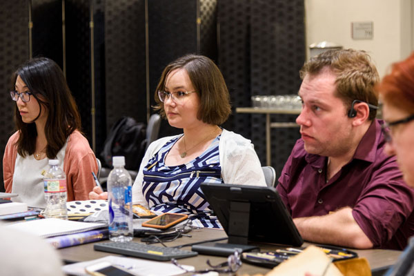 Jennifer during workshop with fellow winners.