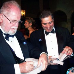 Autographing books with Larry Niven