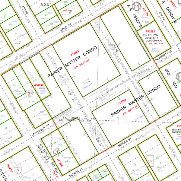 Portion of King County quarter section maps covering Metropolitan Tract