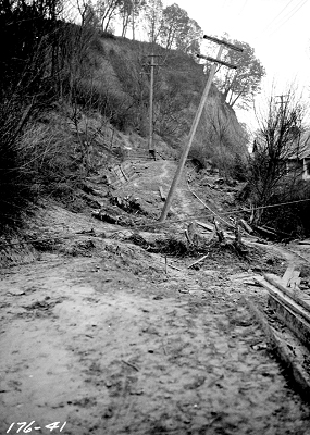 Perkins Lane Slide at W. Ray St. (displacement of utility poles), March 22 1925, from http://archives.seattle.gov/digital-collections/index.php/Detail/objects/77613, Seattle Municipal Archives Identifier 38072