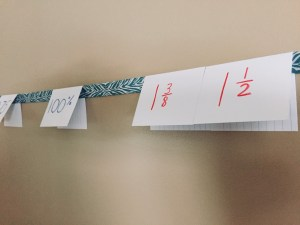 Fractions, Decimals and Percents hanging from a ribbon across a wall.