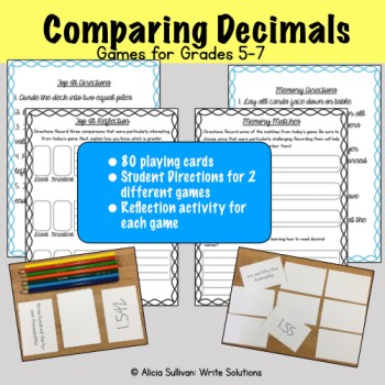 Comparing Decimals Game Cover with colored pencils, game cards and reflection sheets