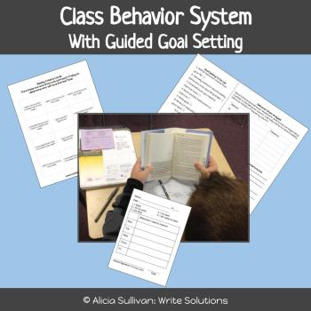 Student reading independently with behavior chart and reflection sheets