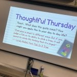 Slide projected in classroom