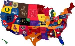 College Football map - writetojoncook Jon Cook