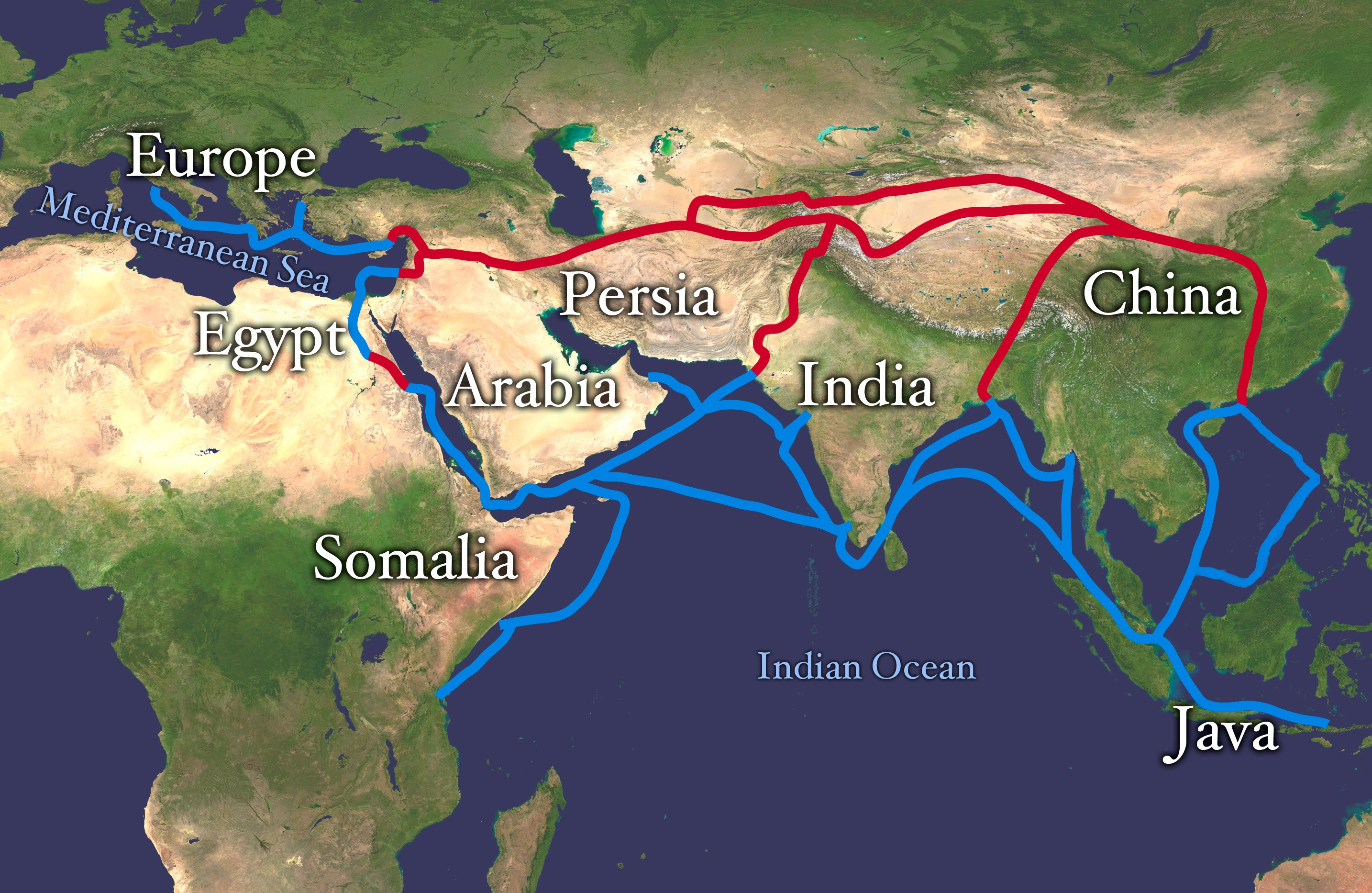 The Silk Road  100 BC   500 CE    WriteWork Extent of Silk Route Silk Road  Red is land route and the blue is