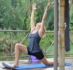 Writing and Yoga Retreat Vietnam - Kerstin Pilz during our Morning Yoga Class with Victoria Nhan at the Writing and Yoga Retreat in Hoi An