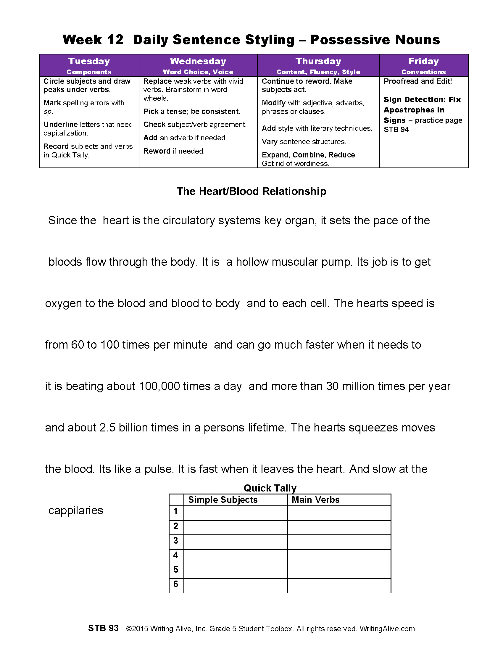 Dss Week 12 Possessive Nouns The Heart Blood Connection