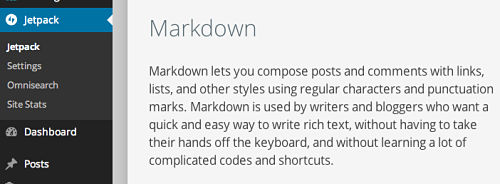 Jetpack does Markdown