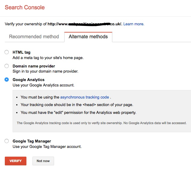 Easy way to add a site to Google Search Console