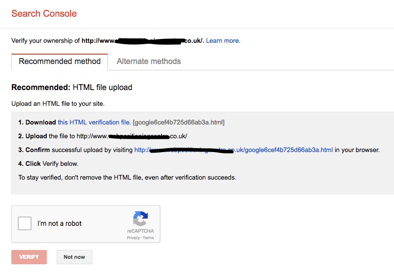 Google Search Console Recommended Verification Method