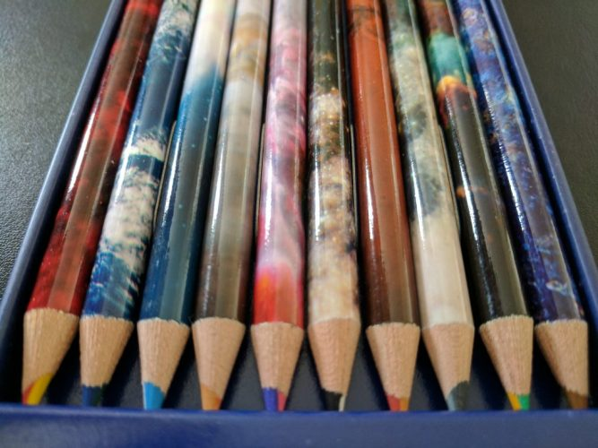 Space themed pencils Swirl duo colour pencils NASA photos