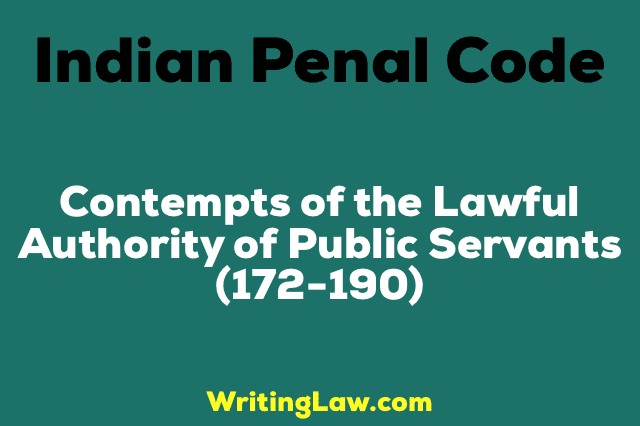 CONTEMPTS OF THE LAWFUL AUTHORITY OF PUBLIC SERVANTS