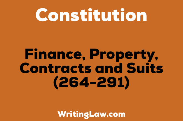 FINANCE, PROPERTY, CONTRACTS AND SUITS
