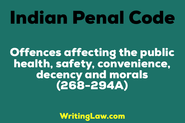 OFFENCES AFFECTING THE PUBLIC HEALTH, SAFETY