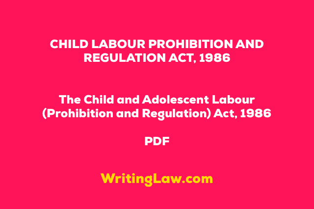CHILD LABOUR PROHIBITION AND REGULATION ACT 1986 PDF