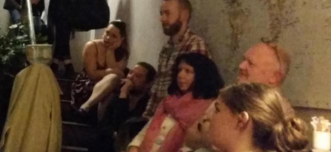 Cinzia Loi on the left, among the crowd at Accents