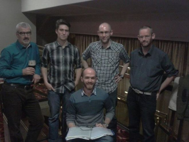Tullamore Rhymers Club before curtain up at Brendan Bowyer gig
