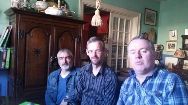 l to r - Richard Brennan, me fein and David Mallaghan at the Tin Jug studio for Birr Vintage Week poetry night. Missing from picture is David Duncan