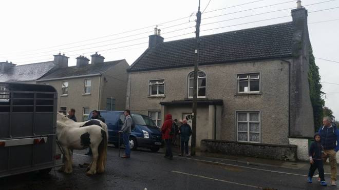Outside our old house near the end of the Banagher Horse Fair.