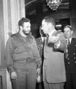 Fidel Castro speaking with Richard Nixon in Washington around the time of the incident - the venue is unknown