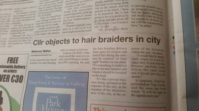 Atricle in the Galway Independent reporting Cllr Billy Connollys remarks on the Roma women hair braiders