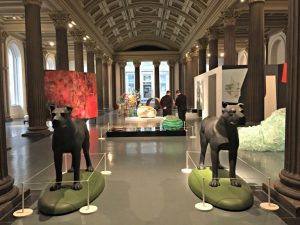 "At Galsgow Museum of Modern Art: Kenny Hunters sculpture: ""Churchills Dogs"""