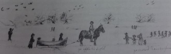 "Said to be Ralph Anthony Dopping and friends on the lake, the drawing had writing we cant make out. Who the sketch is by I dont know, from the Anthony Dopping collection as published in ""The Lough Gowna Valley by Frank Collumb"