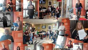 Longford Writers in Cafe 45 for Culture Night 2017 - Photo Montage by Sally Martin