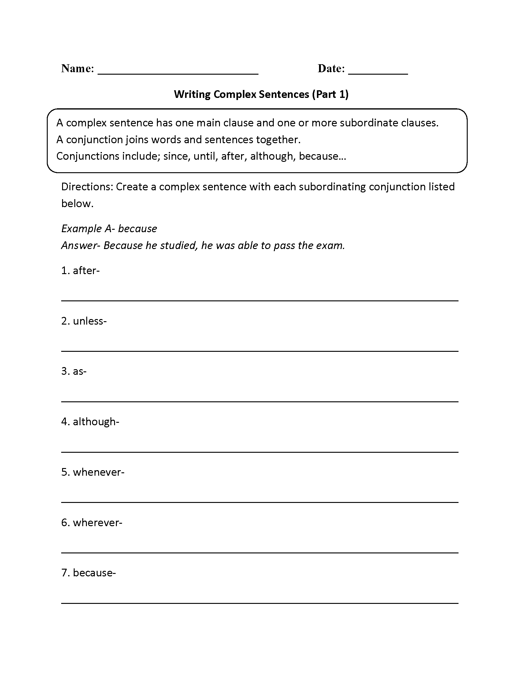 Writing Complex Sentences Worksheet Answers