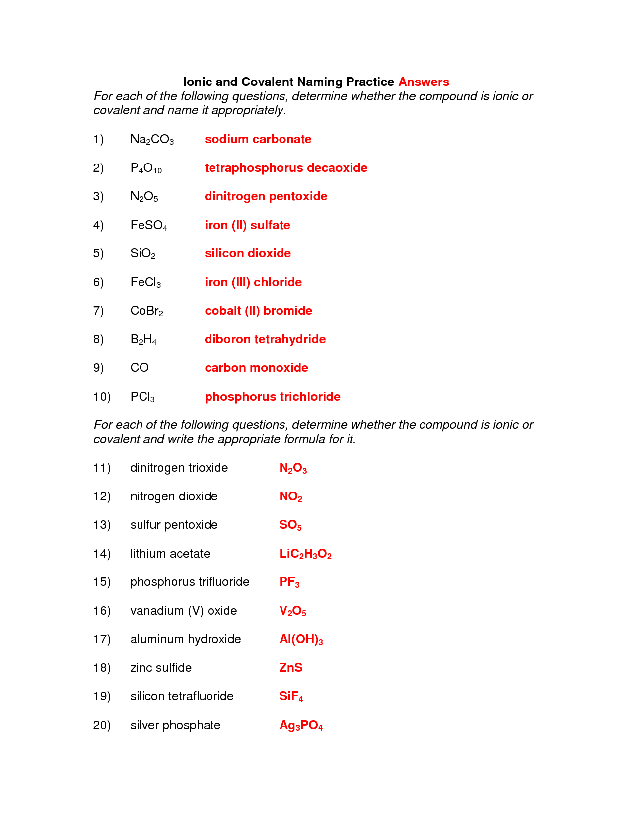 Naming And Writing Ionic And Covalent Compounds Worksheet