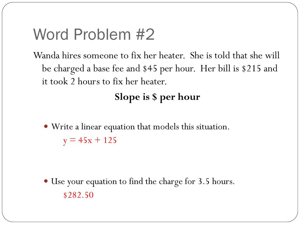 Writing Linear Equations From Word Problems Worksheet