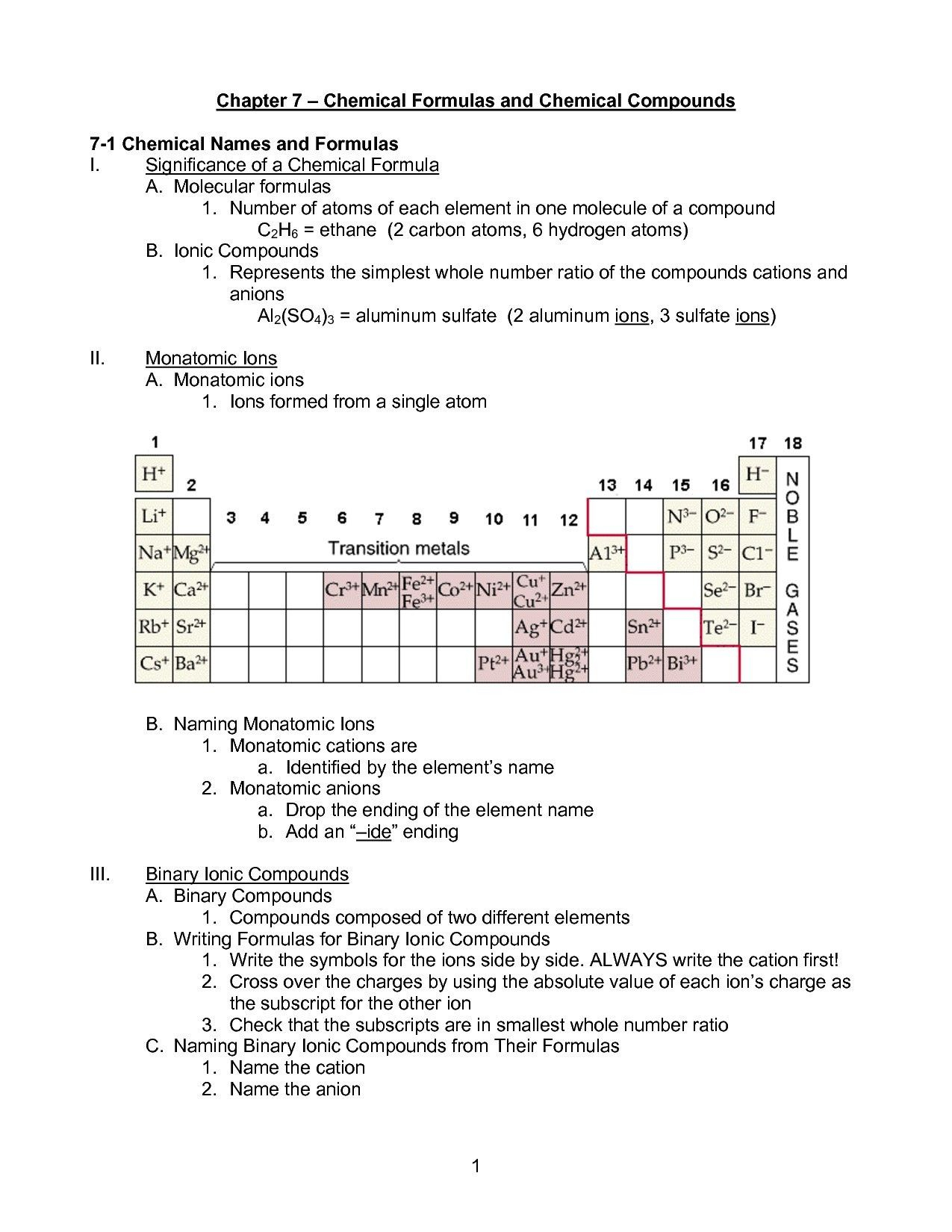Writing Formulas Ionic Compounds Chem Worksheet 8 3 Key