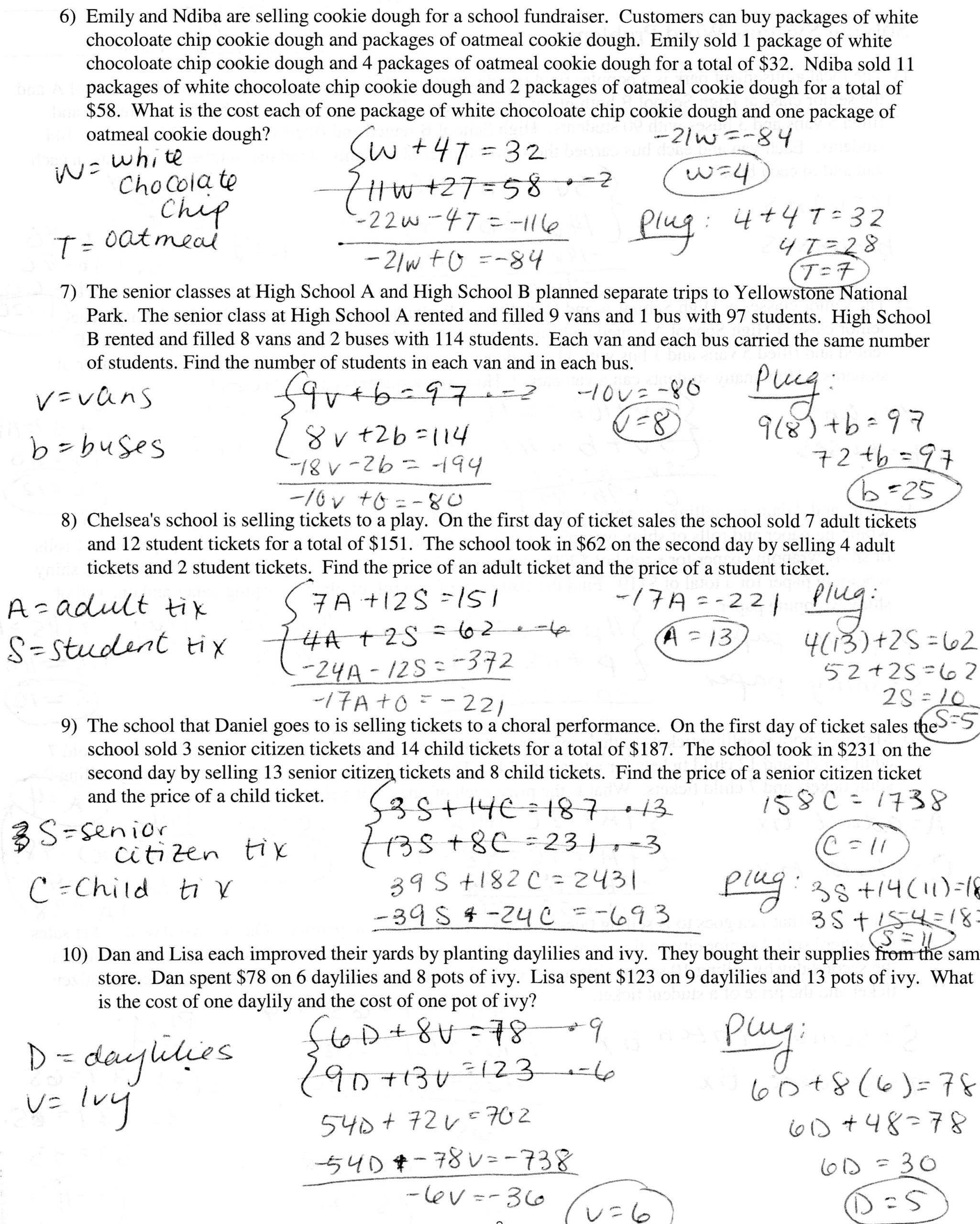 Writing A Linear Equation From A Word Problem Worksheet