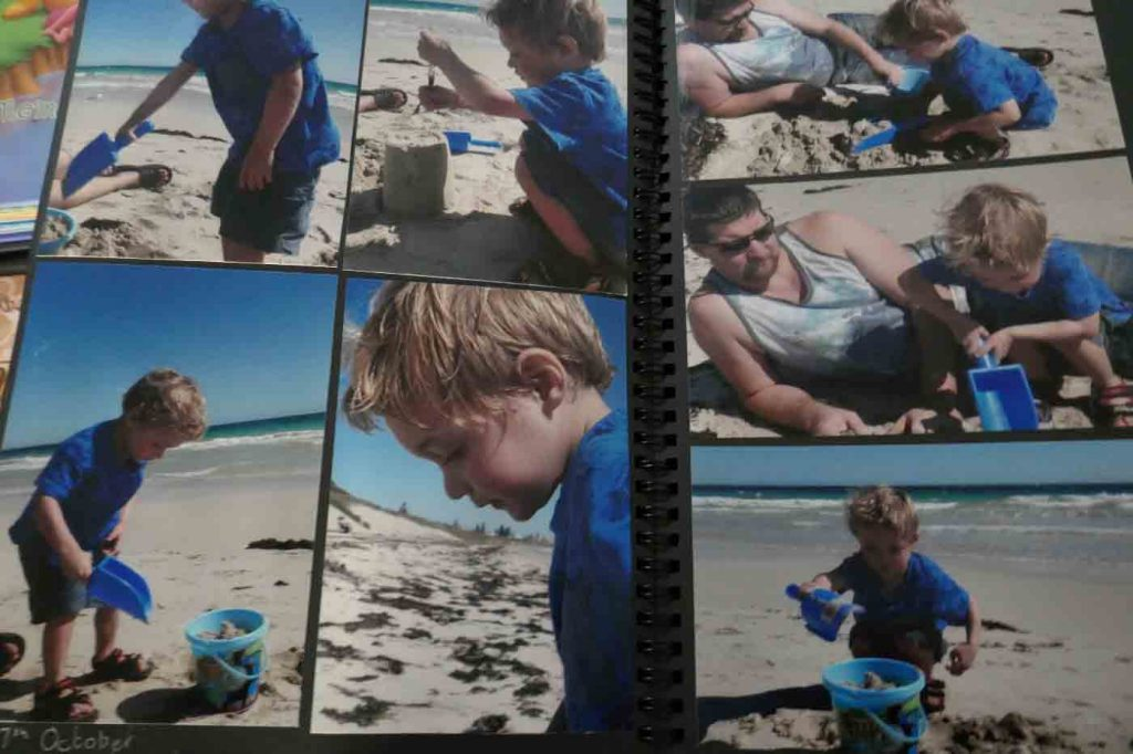 https://www.writteninwaikiki.com/why-you-should-try-scrapbooking/  scrapbook layout beach family Waikiki Rockingham