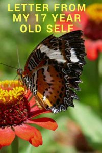 https://www.writteninwaikiki.com/letter-from-my-17-year-old-self/ butterfly on flower pinterest