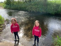 Ruby and Annabel paddling