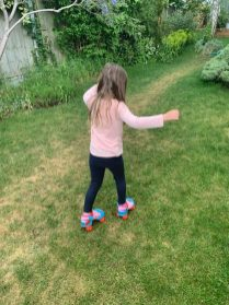 Ruby tries her roller skates