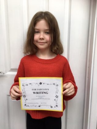 Gretchen's certificate for fabulous writing!