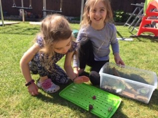 Mia and Sophie with Gary the snail!