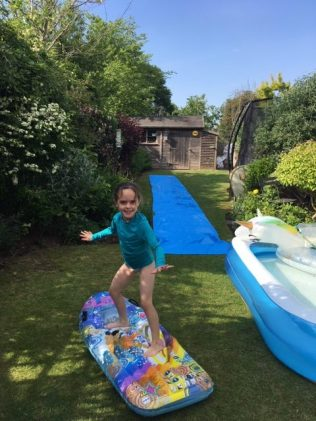 Jess surfing in the garden!