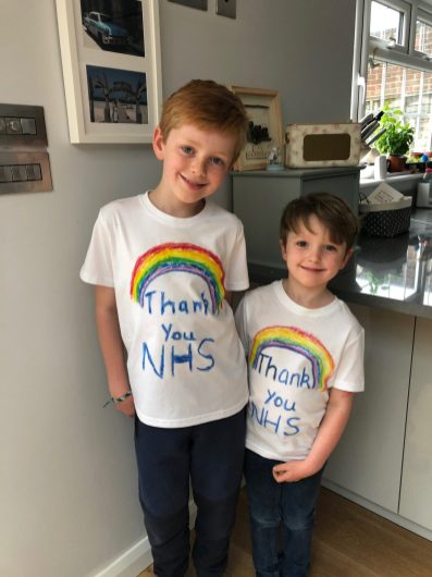 Luca and Sam's rainbow t-shirts