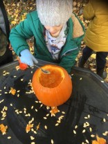 Scooping out our pumpkins